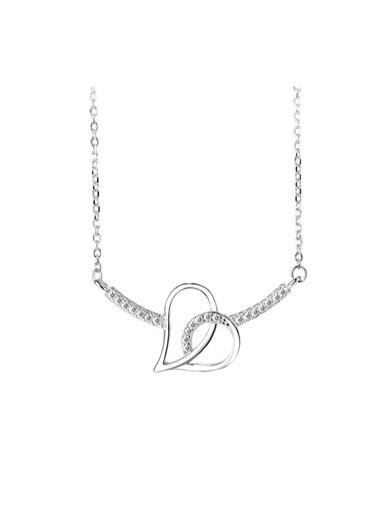 Enesstore Gümüş Kalbim Kalbinde Çift Kalp Çubuk Bayan Gümüş Kolye Beyaz